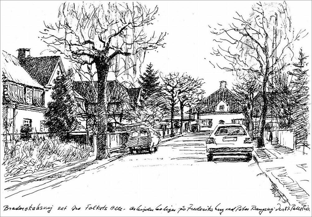 Broderskabsvej set mod øst fra Folkets Allé december 1987 - Tegning: Palle Pio